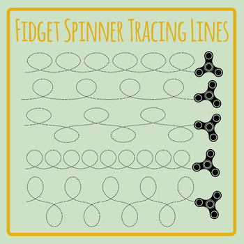 Fidget Spinner Tracing Lines Clip Art Set for Commercial Use