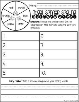 Fidget Spinner Word Work Activities