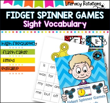 Sight Vocabulary Games using fidget spinners-ideal for literacy rotations