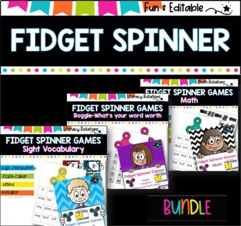math and literacy games using fidget spinners (bundle)
