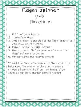 Fidget Spinner nouns and verbs!