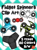 Fidget Spinners Clip Art (5 Different Types in B/W and 80 Colors)