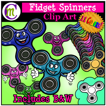 Fidget Spinners Clip Art with Cartoon Faces