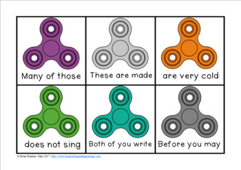 Fidget Spinners Fluency Phrases Race