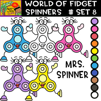 Fidget Spinners (Mrs. Spinners) - Cliparts set - 11 Items #Set 8