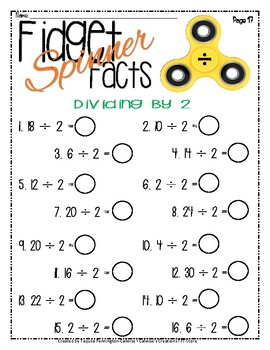 Fidget Spinners - Multiplication and Division Packet