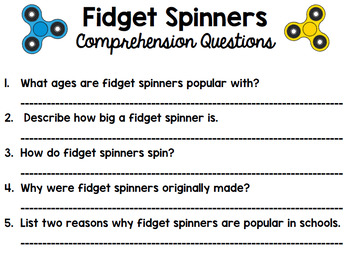Fidget Spinners - Opinion Writing - Reading - Writing - Argumentative Writing