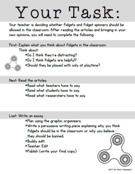 Fidget Spinners in Classrooms? Persuasive Writing Activity for Grades 3-4