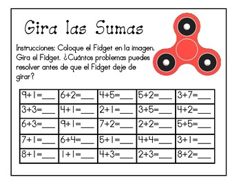 Fidget Spinner Spanish Math and Letter Activities