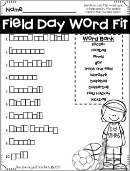 Field Day Fun No Prep Printables