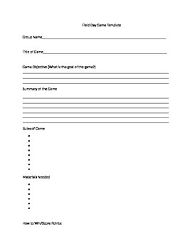 Field Day Game Template
