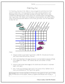 End of the Year Activities (Activity) Logic Puzzle about Field Day Print & Go