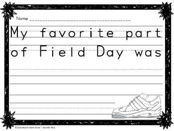 Field Day Reflection - Writing Activities for the End of the Year