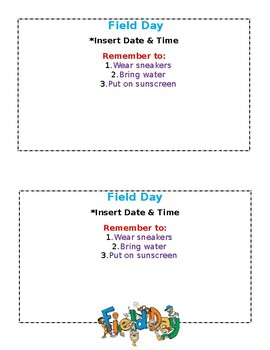 Field Day Reminder - EDITABLE