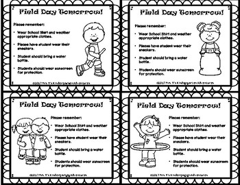 Field Day Reminder slips in English and Spanish