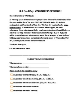 Field Day Volunteer Letter