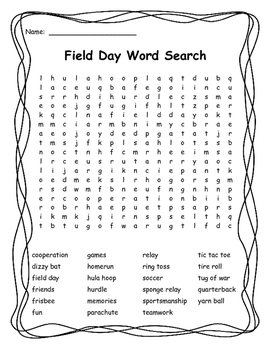 Field Day Word Searches