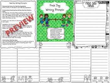 Field Day Writing Prompts and Stationery