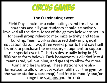 Field Day packet CIRCUS GAMES