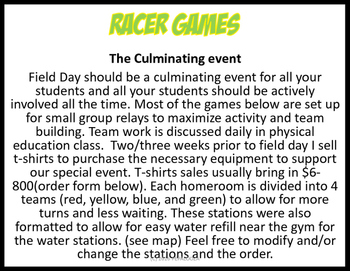 Field Day packet RACER GAMES