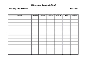Field Event Record Sheet