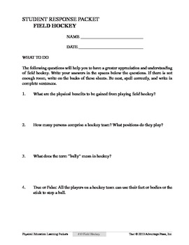 Field Hockey: An Academic Learning Packet
