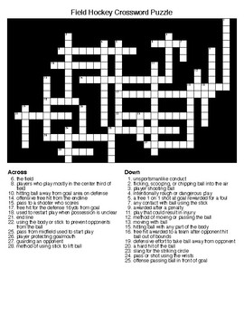 Field Hockey Crossword and Word Search Puzzles
