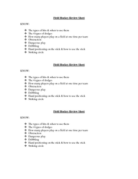 Field Hockey Rubric