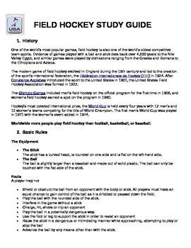 Field Hockey Study Guide