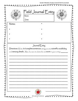 Field Journal Alternative/Assessment: Grade 5 Module 2A Unit 3