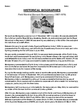 Field Marshal Bernard Montgomery  Biography Article and (3) Assignments