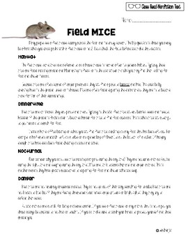 Field Mice: Close Read with Comprehension Questions *FREEBIE*