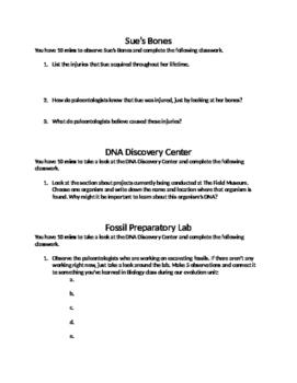 Field Museum, Chicago, IL: Sue's Bones, DNA Center, Fossil Lab Worksheet