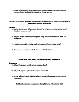 Field Museum, Chicago, IL: What is an Animal Worksheet
