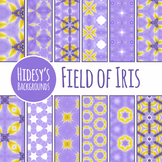 Field Of Iris Purple and Yellow Backgrounds / Digital Papers Clip Art Set
