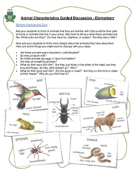 Field Trip Activities for the Classroom: Animal Characteristics