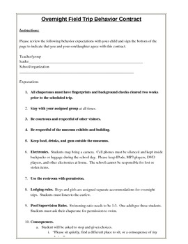 Field Trip Behavior Contract By Liz And Ron Teachers Pay