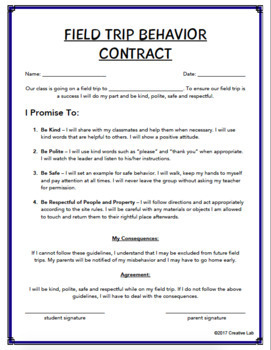 FREE - Field Trip Behavior Contract