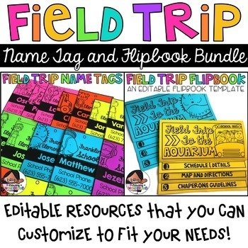 Field Trip Bundle (Editable Flipbook and Name Tags)