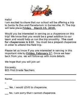 Field Trip Chaperone Invite Letter