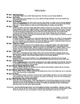 Field Trip Checklist