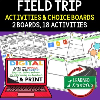 Field Trip Choice Board Paper & Digital Google Classroom Option