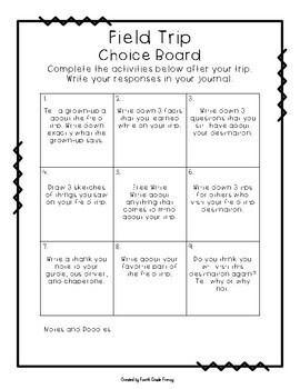 Field Trip Preview and Reflection Choice Boards