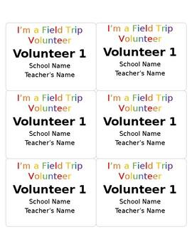 field trip editable name badges for volunteers by mrs