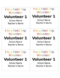 Field Trip Editable Name Badges for Volunteers