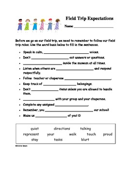 field trip expectations worksheet by kris downs tpt. Black Bedroom Furniture Sets. Home Design Ideas