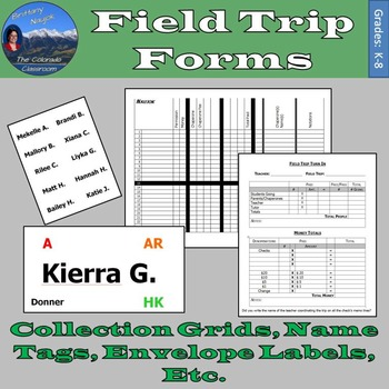 Field Trip Forms - Permission Slips, Chaperones, Name Tags, Wristlets, & More