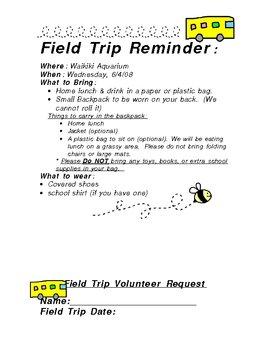 Field Trip Letter Package by eo | Teachers Pay Teachers