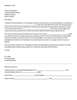 Field Trip Letter with Permission slip