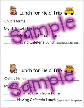 Field Trip Lunch Form